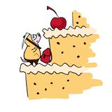Anthropomorpher Karikatur pigglet Alpinist und süßer Kuchen stock abbildung