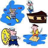 Anthropomorphic cartoon vector pigs in the sea set vector illustration