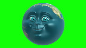 Anthropomorphic Earth on green screen, seamless loop. 3D animation in cartoon style. royalty free illustration