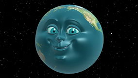 Anthropomorphic Earth, seamless loop. 3D animation in cartoon style.