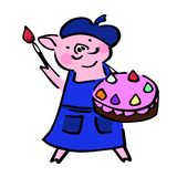 Cute costumed vector painter pig with brush and cake royalty free illustration