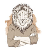 Anthropomorphic lion. Sepia tonned illustration. Vector Stock Photos
