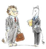 Anthropomorphic lion and unicorn dressed in business suits cartoon. Symbolic cartoon of two office workers as two animals in business suits royalty free illustration
