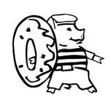 Anthropomorphic shipboy tecknad filmvektorpigglet och munk royaltyfri illustrationer