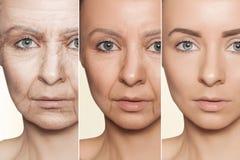 Anti--åldras tillvägagångssätt på caucasian kvinnaframsida arkivbild