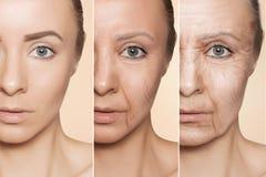 Anti--åldras tillvägagångssätt på caucasian kvinnaframsida arkivfoto