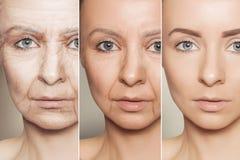 Anti--åldras tillvägagångssätt på caucasian kvinnaframsida royaltyfri foto