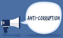 ANTI écriture de CORRUPTION dans la bulle de la parole avec le mégaphone ou le haut-parleur Photos stock