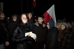 Anti ACTA Poland. 2012.01.25 Gorzow Wielkopolski. Anti ACTA ( Anti-Counterfeiting Trade Agreement ) manifestation Stock Photo