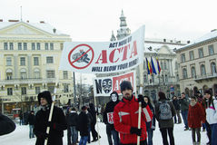 Anti ACTA Romania Royalty Free Stock Images