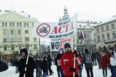 Anti ACTA Romania Immagini Stock Libere da Diritti