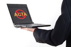 Anti Acta symbol on netbook Stock Photo