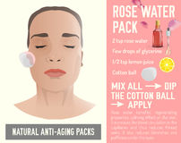 Anti-Aging Face Pack 2-03. Beautiful woman with a face-pack during the cosmetological procedure. Vector illustration in light beige colours isolated on a blue Royalty Free Stock Photos