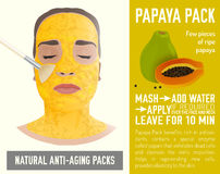 Anti-Aging Face Pack. Beautiful woman with the handmade anti-aging face-pack during the cosmetological procedure. Vector illustration with papaya pack recipe in Stock Image