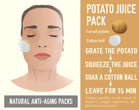 Anti-Aging Face Pack. Beautiful woman with a handmade potato face-pack during the cosmetological procedure. Vector illustration in beige colours isolated on a Royalty Free Stock Photography