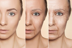Anti-aging procedures on caucasian woman face stock photo