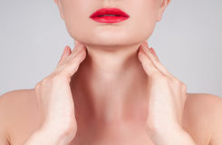 Anti-aging treatment. Beautiful woman neck Royalty Free Stock Photo