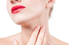 Anti-aging treatment. Beautiful woman neck Royalty Free Stock Photos