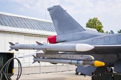 Rockets on fighters wing Royalty Free Stock Photos