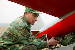 Anti-aircraft artillery aeromodelling group training. Anti-aircraft artillery aeromodelling group in training, model aircraft group leader in guiding team stock photo