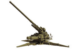 Anti-aircraft cannon. An old anti-aircraft cannon or a zenith gun. Isolated Royalty Free Stock Images