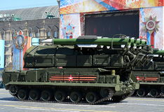 Anti-aircraft complex `Buk-M2` at the  rehearsal of parade in honor of the 72st anniversary of Victory in the great Patriotic war. Stock Image