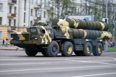 Anti-aircraft complex s-300 in motion Royalty Free Stock Images