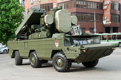The anti-aircraft complex `Wasp` unfolds before the start of the parade. The air defense system of the Wasp, Rostov-on-Don, Russia, May 9, 2014. Reserve stock photo