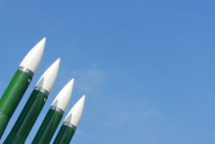 Anti-aircraft defence system. Rockets. Against a background of blue sky Stock Photography