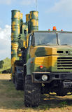 Anti-aircraft defence system S-300 Rocket launcher. Anti-aircraft defence system S-300. Rocket launcher truck painted in protective coloration royalty free stock photo