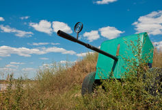 Anti-aircraft gun on blue sky background Stock Image