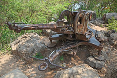Anti Aircraft Gun - Luang Prabang - Laos. The remains of a Russian Anti Aircraft gun (ZU-23-2) at the top of Mount Phousi - Luang Prabang - Laos Royalty Free Stock Image