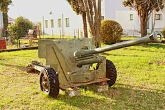 Anti-aircraft gun of the second world war now in disuse and placed in the former military barracks of strong marghera today meetin. G place of socialization and royalty free stock images