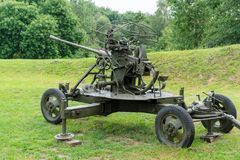 Anti-aircraft gun from the time of the Second World War. royalty free stock image
