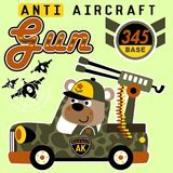 Bear army. Anti aircraft gun, vector cartoon illustration. EPS 10 Stock Images