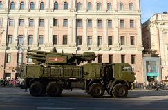 Anti-aircraft missile and gun complex Carapace-s. MOSCOW, RUSSIA - MAY 05, 2016:Anti-aircraft missile and gun complex Carapace-s at the rehearsal of the parade Royalty Free Stock Photos