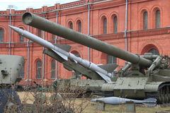 Anti-aircraft missile launcher and artillery system on territory of museum in cloudy day Royalty Free Stock Image