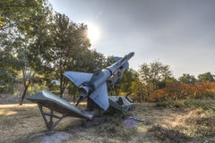 Anti-aircraft missile. Old-fashioned anti-aircraft missiles, chinese model hq2, are fabricated according to the former soviet union sam2 missile stock photography