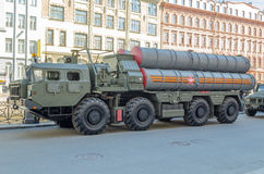 Anti-aircraft missile system parked on the street in St. Petersburg Royalty Free Stock Photos