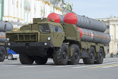 Anti-aircraft missile system S-300PМ, rehearsal of parade in honor of Victory Day in St. Petersburg Royalty Free Stock Image