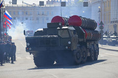 Anti-aircraft missile system S-300PM at the parade in honor of Victory Day. St. Petersburg Royalty Free Stock Photos