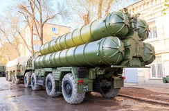 Anti-aircraft missile system (SAM) S-300 parked up on the city s Royalty Free Stock Images