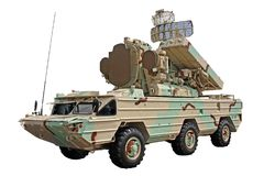 Anti-aircraft missile system vehicle. Modernized combat vehicle from the anti-aircraft missile system `Osa Stock Photo