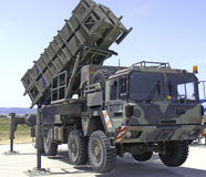 Anti aircraft missiles. And truck Stock Photo