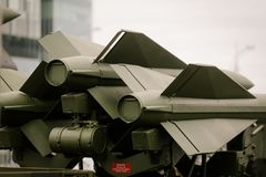 Anti aircraft missiles. On a launching vehicle Stock Image