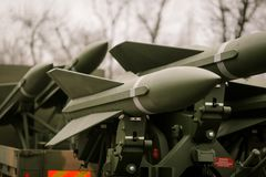 Anti aircraft missiles. On a vehicle Royalty Free Stock Photo