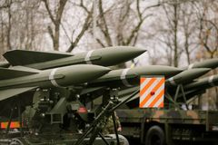 Anti aircraft missiles. Mounted on armoured vehicles Stock Photography