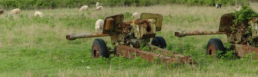 Anti-aircraft warfare or counter-air defense, abandoned. Wrecks of old vehicles belonging to the Albanian army in the air field. Anti-aircraft warfare counter royalty free stock images