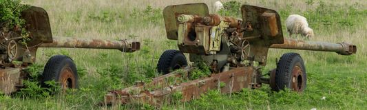 Anti-aircraft warfare or counter-air defense, abandoned. Wrecks of old vehicles belonging to the Albanian army in the air field. Anti-aircraft warfare counter stock image