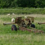Anti-aircraft warfare or counter-air defense, abandoned. Wrecks of old vehicles belonging to the Albanian army in the air field. Anti-aircraft warfare counter royalty free stock image